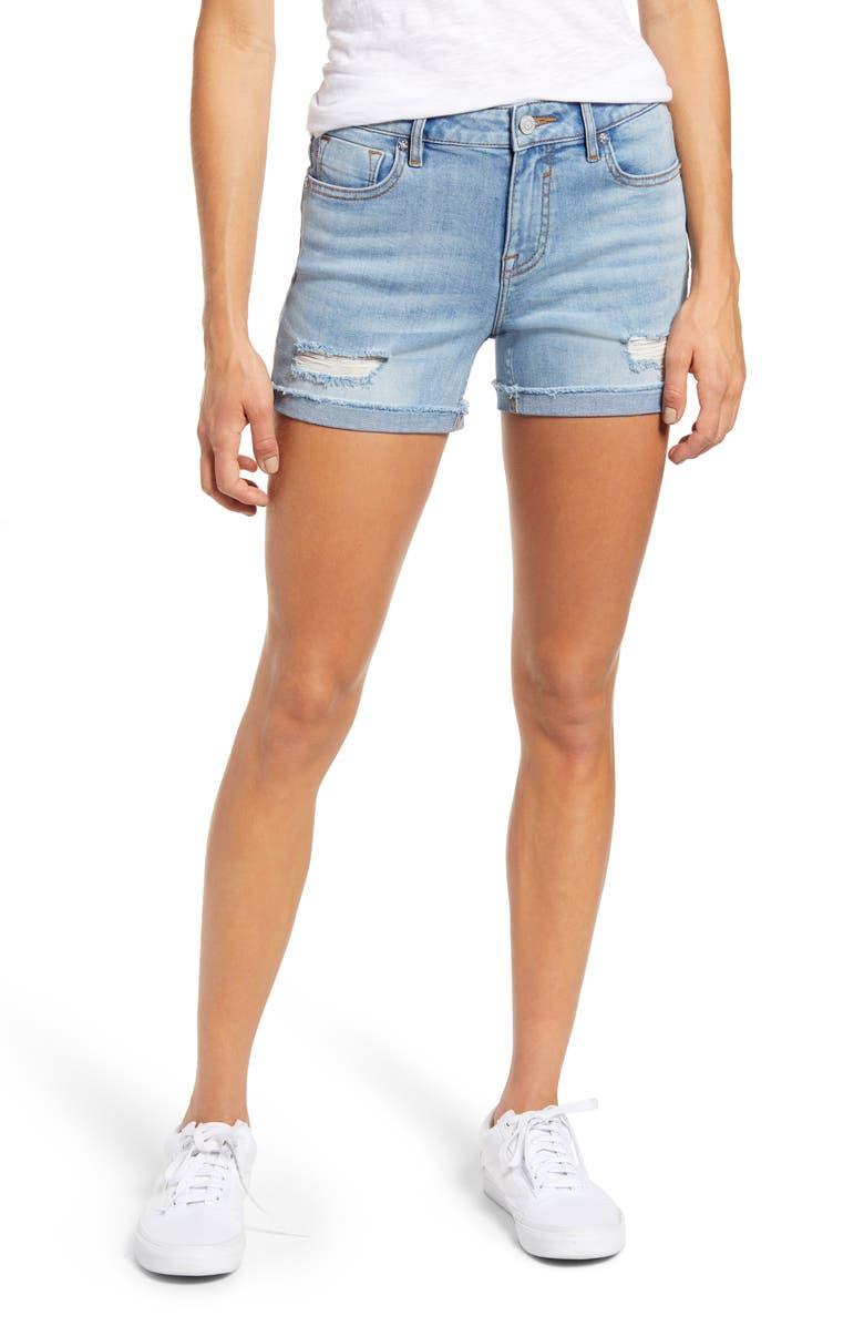 VIGOSS Marley Distressed Denim Shorts, Main, color, LIGHT WASH
