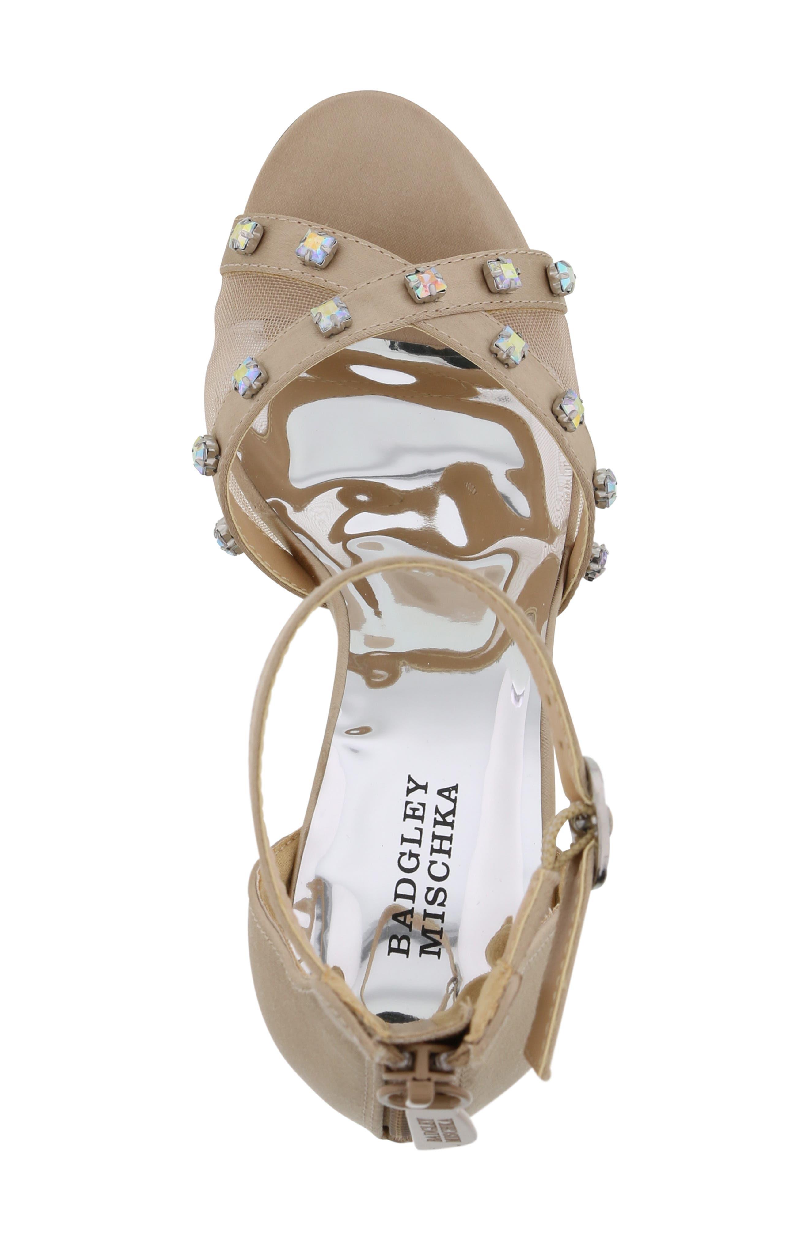 ,                             Badgley Mischka Kendall Glam Sparkle Sandal,                             Alternate thumbnail 5, color,                             CHAMPAGNE