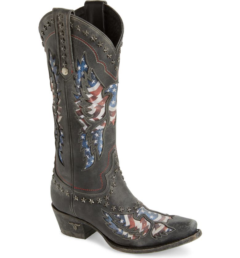 LANE BOOTS Old Glory Studded Western Boot, Main, color, BLACK STONEWASHED LEATHER