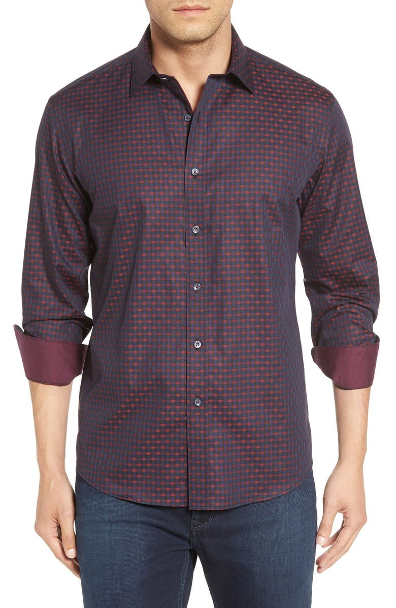 BUGATCHI Shaped Fit Check Sport Shirt, Main, color, 602