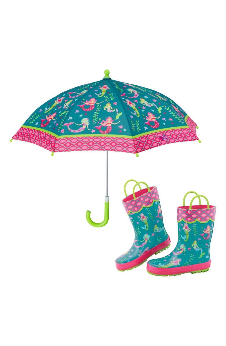 STEPHEN JOSEPH Print Rain Boots & Umbrella Set, Main, color, MERMAID