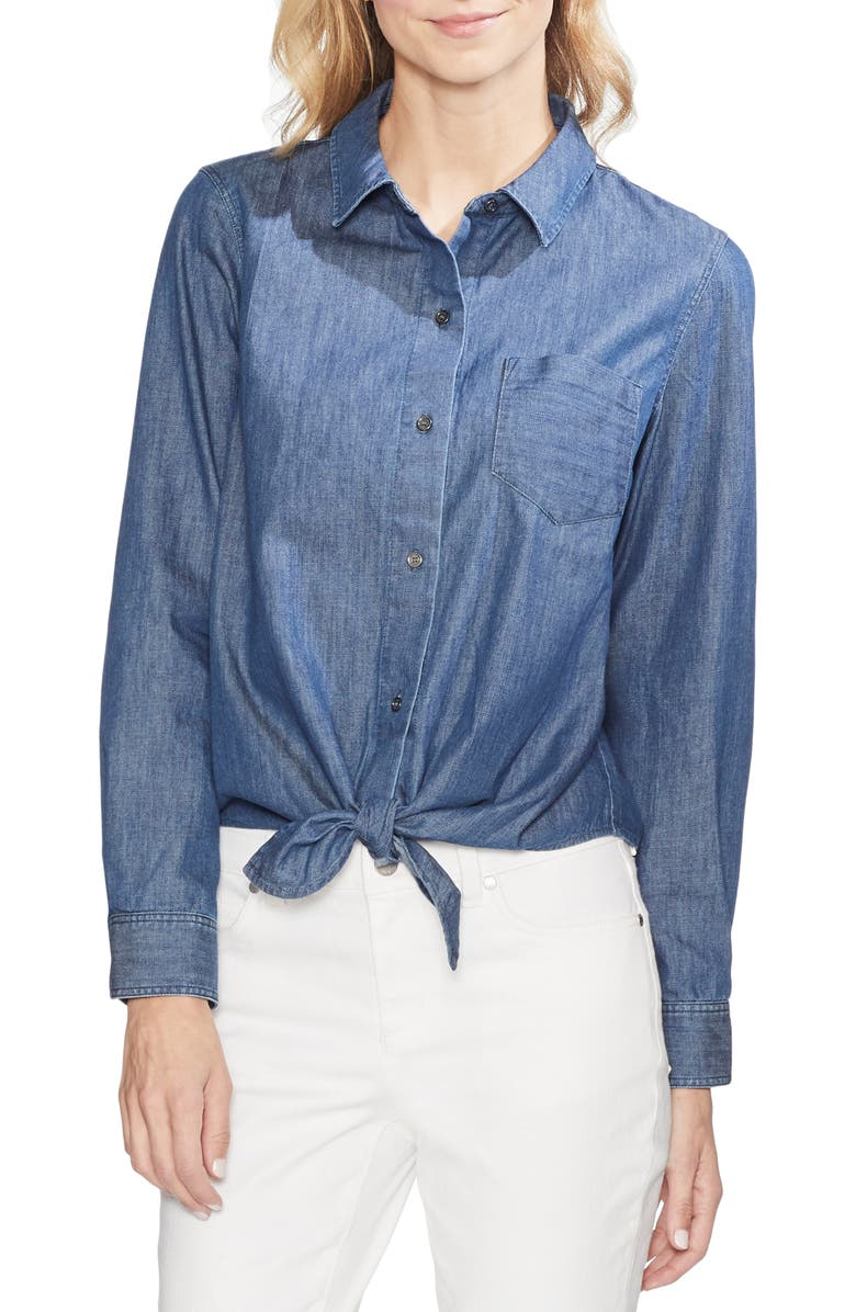 VINCE CAMUTO Tie Front Denim Shirt, Main, color, 491