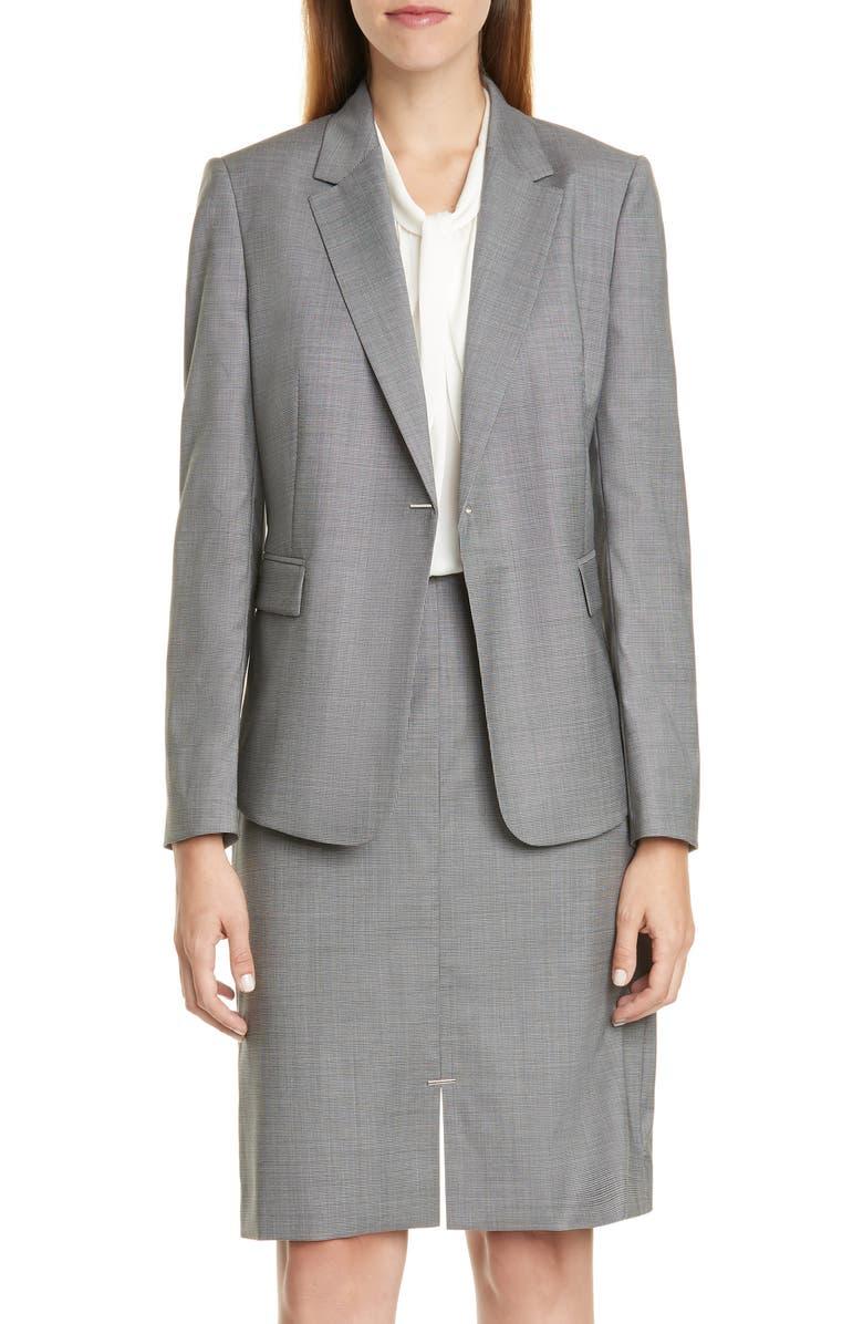 BOSS Jeniver Wool Suit Jacket, Main, color, STEEL FANTASY