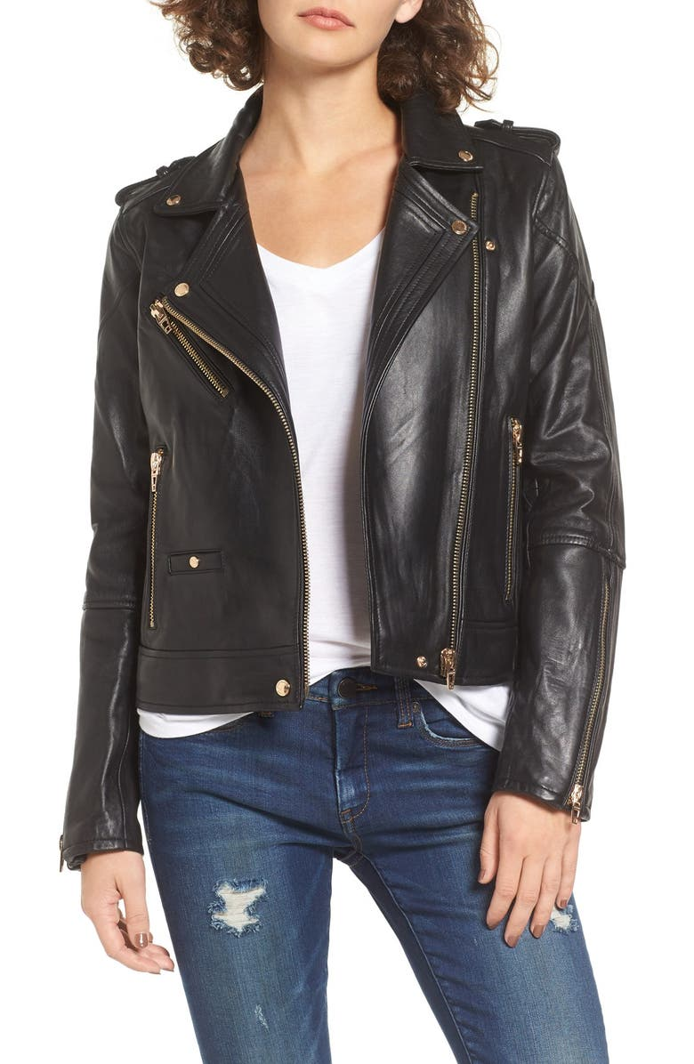 BLANKNYC Leather Moto Jacket, Main, color, 001