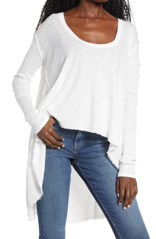 Free People Tt Special Waffle Knit High/low Top In White