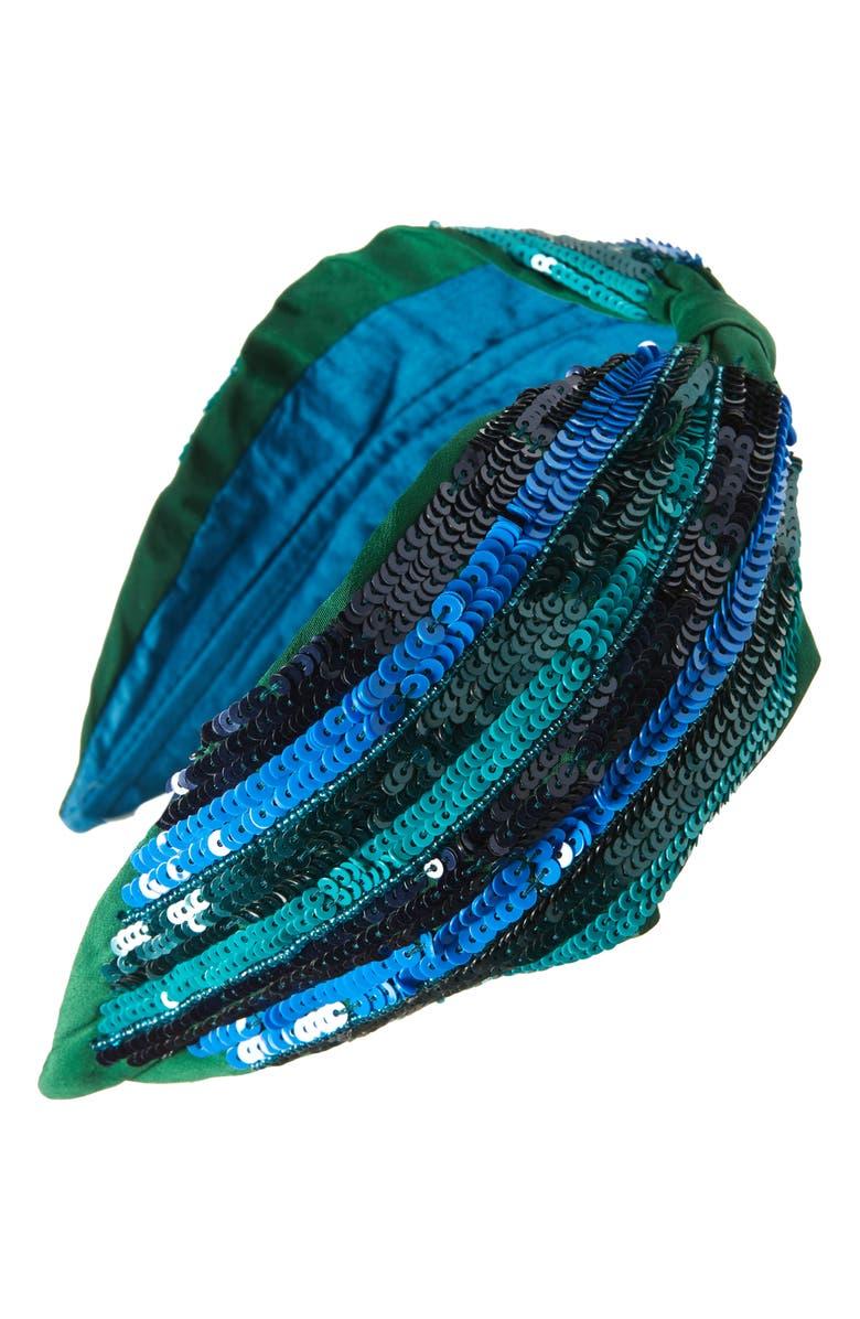 NAMJOSH Sequin Embellished Headband, Main, color, GREEN