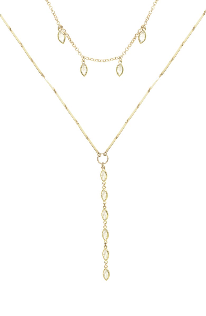 ETTIKA Set of 2 Cubic Zirconia Necklaces, Main, color, GOLD