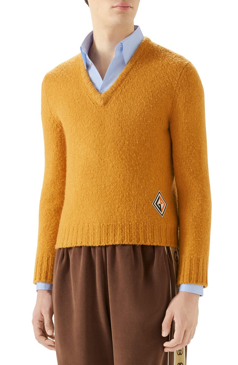 GUCCI V-Neck Wool Sweater, Main, color, ZEST