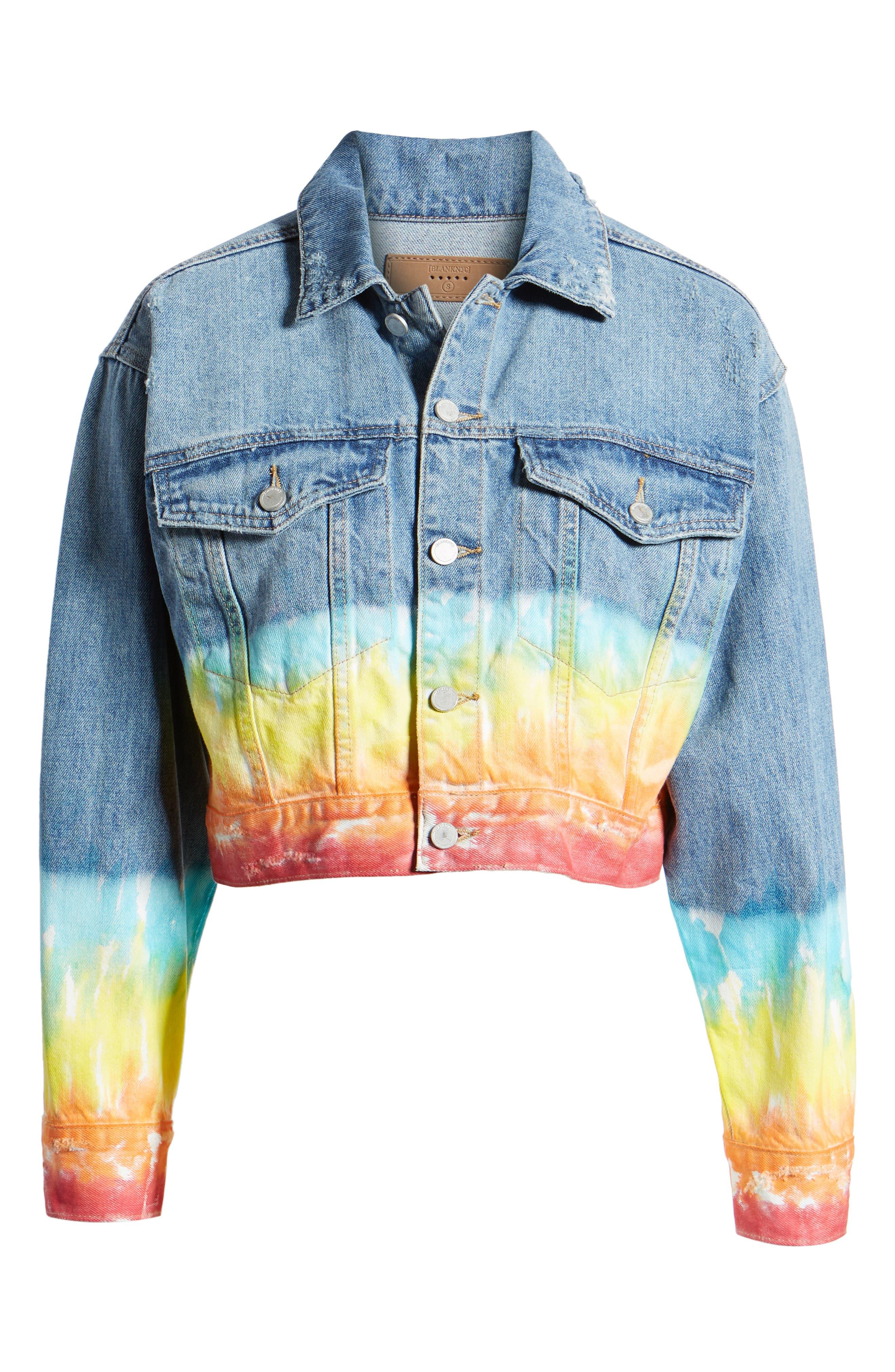 ,                             Tie Dye Hem Crop Denim Jacket,                             Alternate thumbnail 7, color,                             BLOW THE BAG