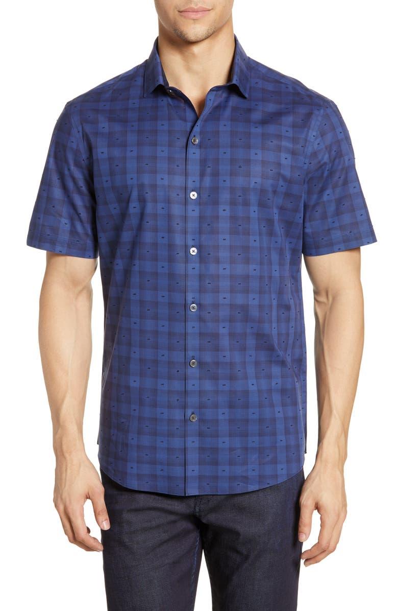 ZACHARY PRELL Kee Plaid Regular Fit Shirt, Main, color, DARK BLUE