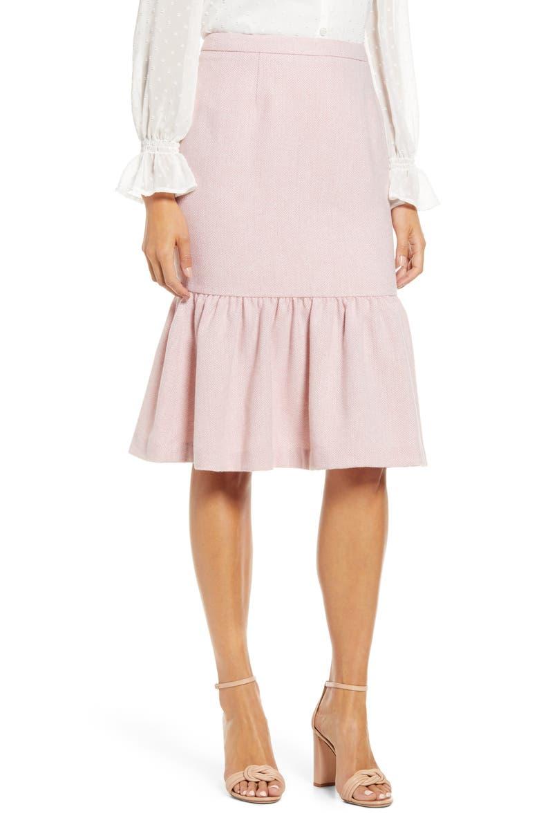 RACHEL PARCELL Herringbone Skirt, Main, color, PINK/ IVORY HERRINGBONE TWEED
