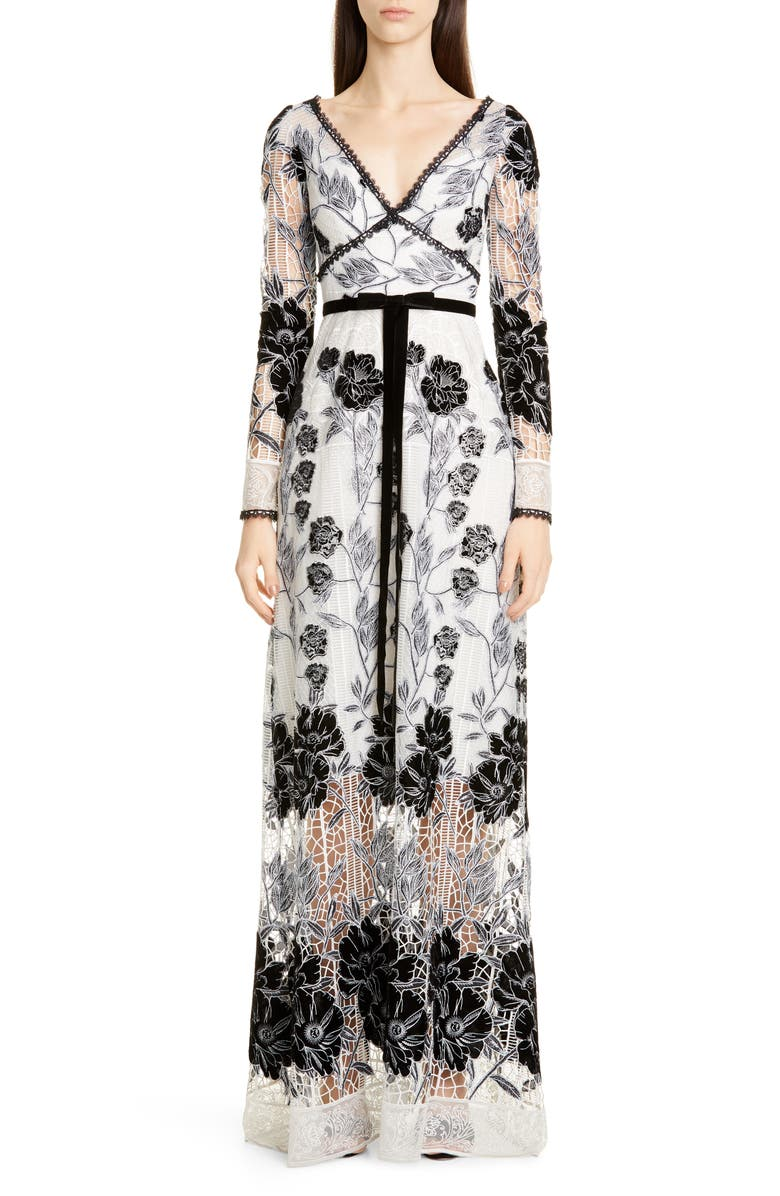 MARCHESA NOTTE Long Sleeve Embroidered Lace Gown, Main, color, IVORY/ BLACK