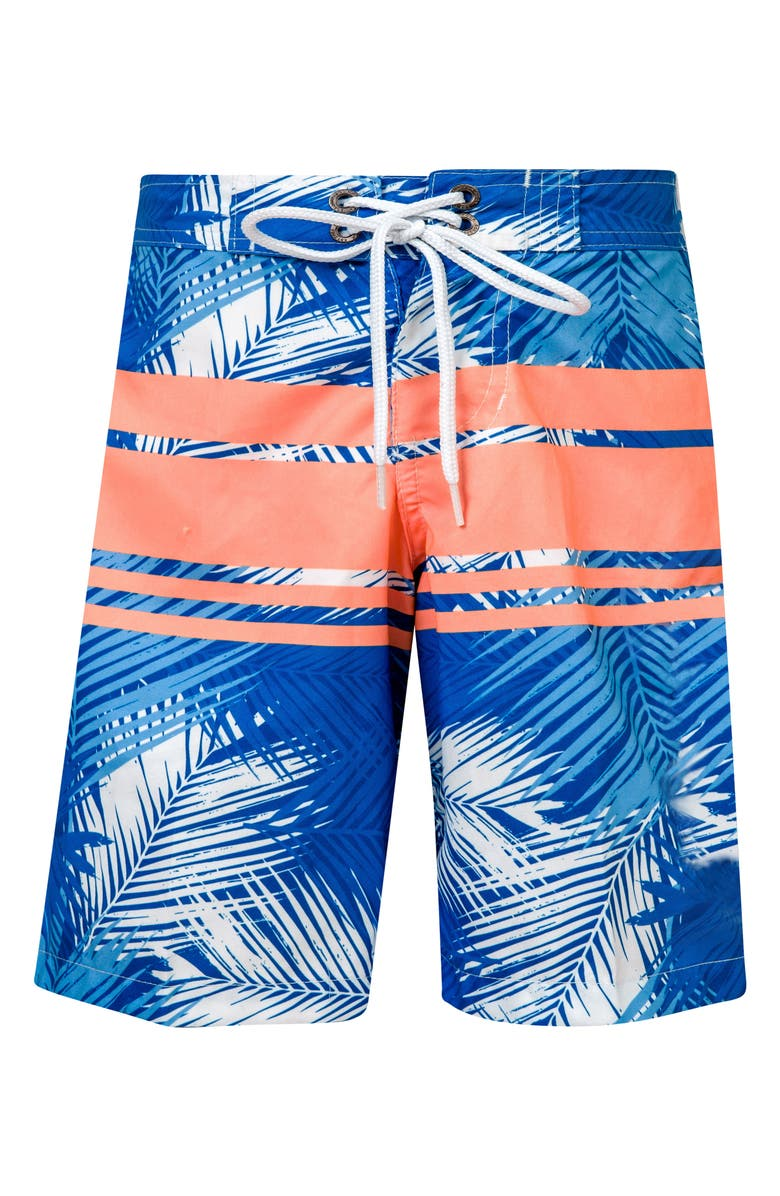 SNAPPER ROCK Tropical Neon Stripe Board Shorts, Main, color, ROYAL/ NEON CORAL/ WHITE