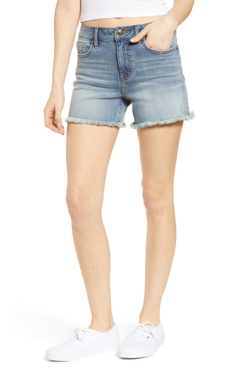 VIGOSS Jagger Longline Denim Shorts, Main, color, LIGHT WASH