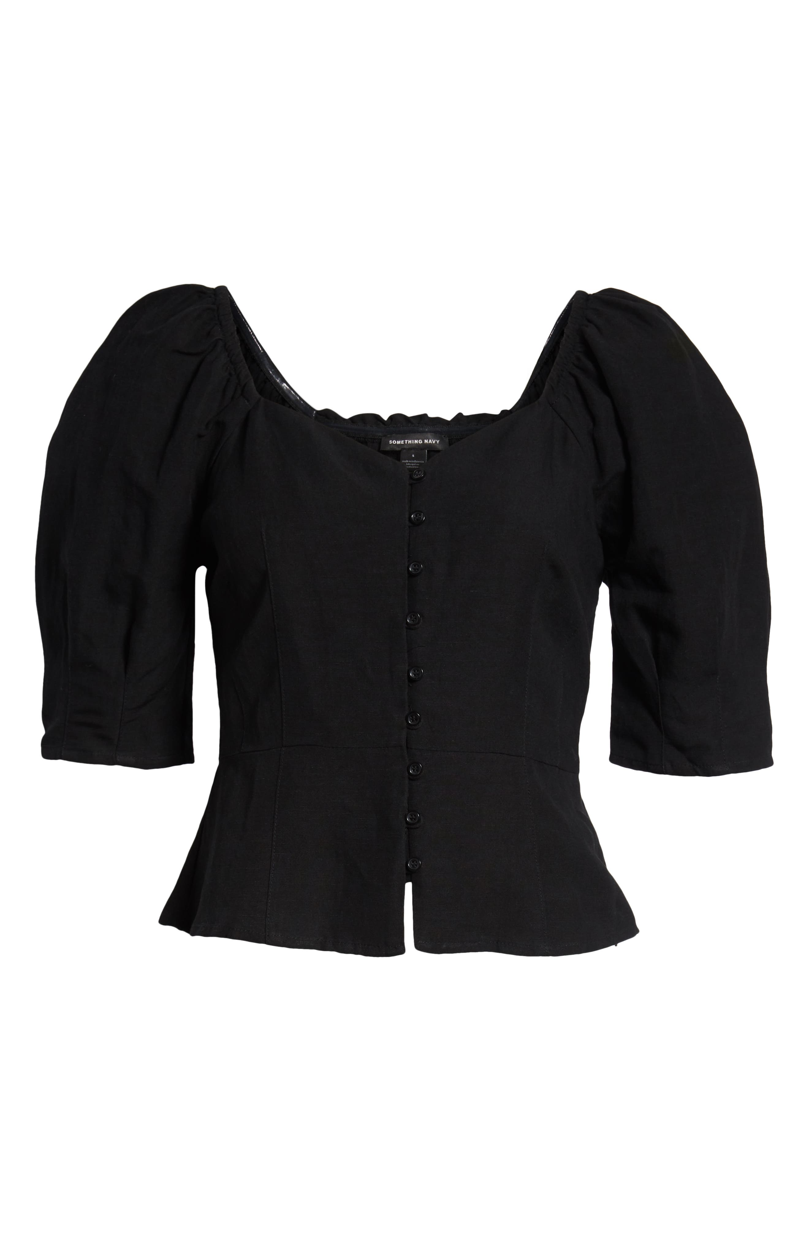 ,                             Front Button Fitted Top,                             Alternate thumbnail 7, color,                             BLACK