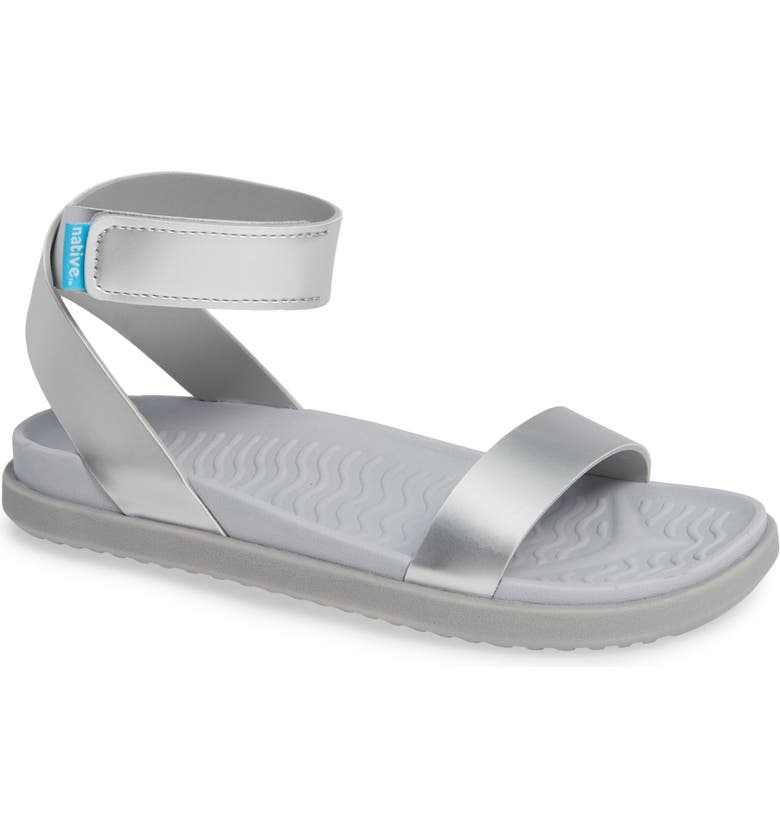 NATIVE SHOES Juliet Vegan Sandal, Main, color, SILVER METALLIC/ MIST/ GREY
