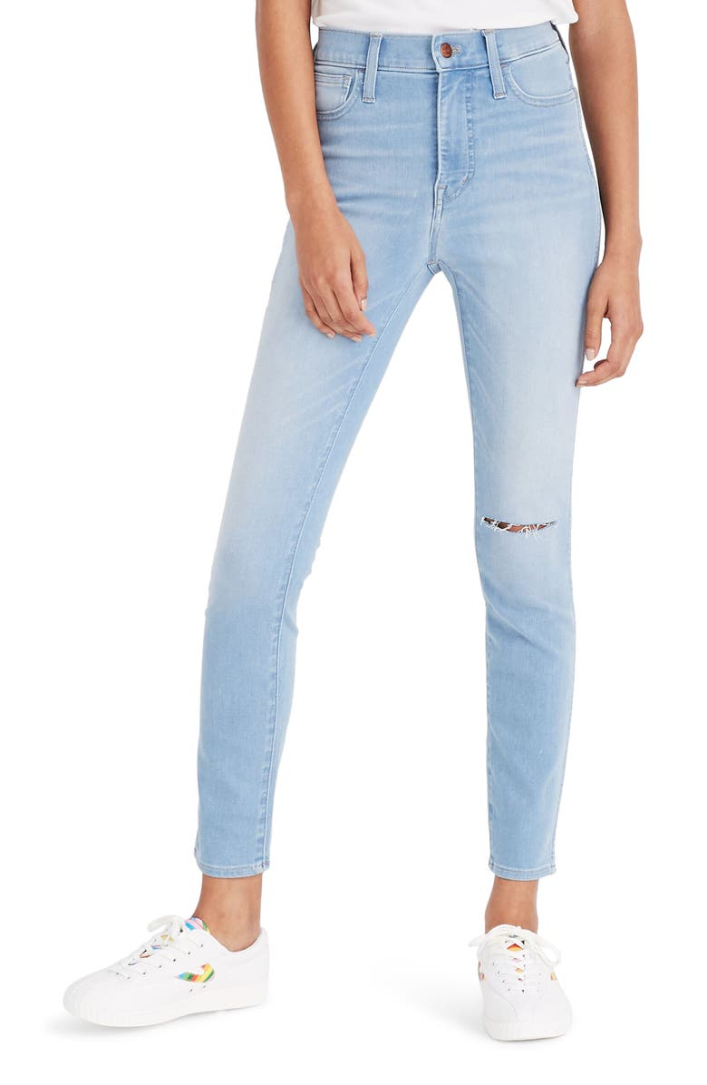 MADEWELL Roadtripper 10-Inch High Waist Knee Slit Denim Leggings, Main, color, 400