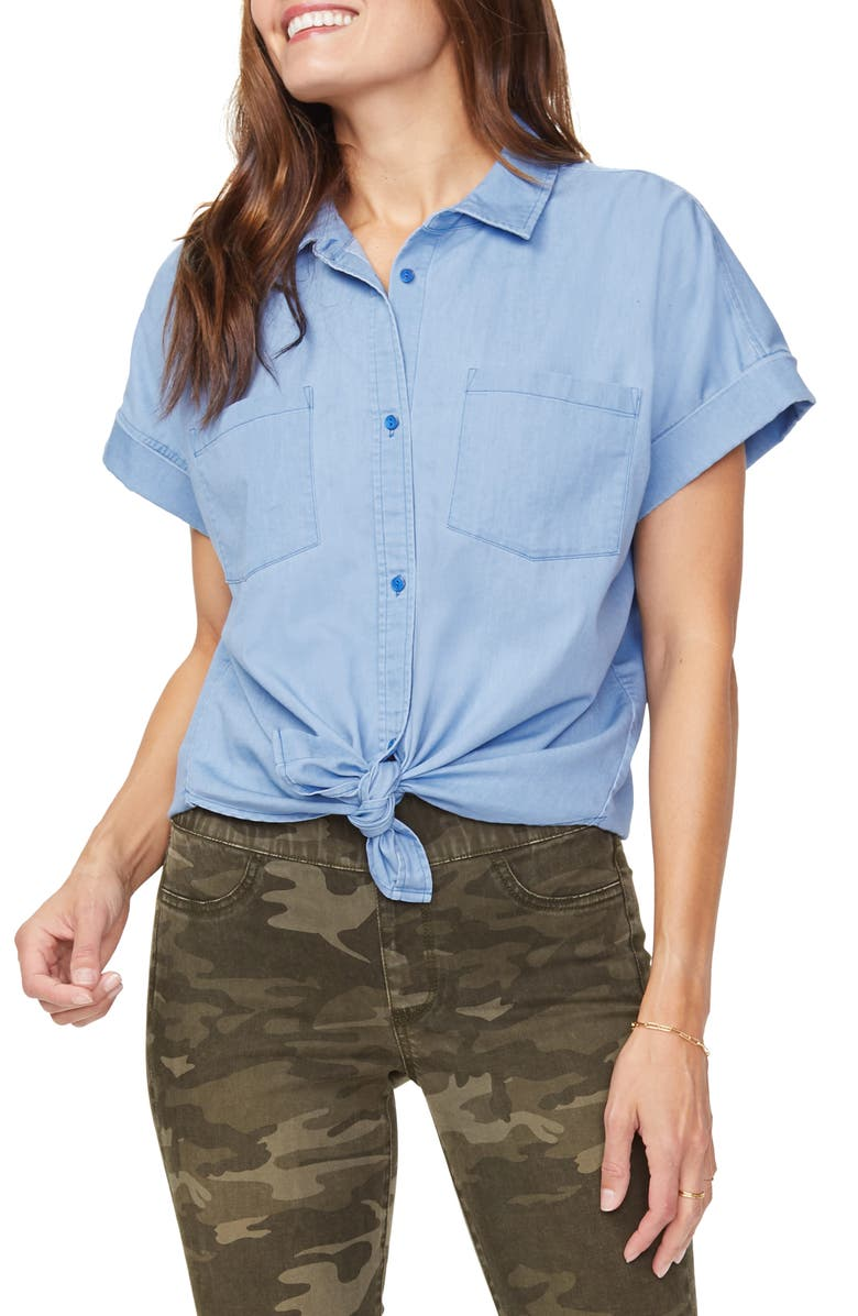 NYDJ Chambray Button-Up Camp Shirt, Main, color, SALTWATER WASH