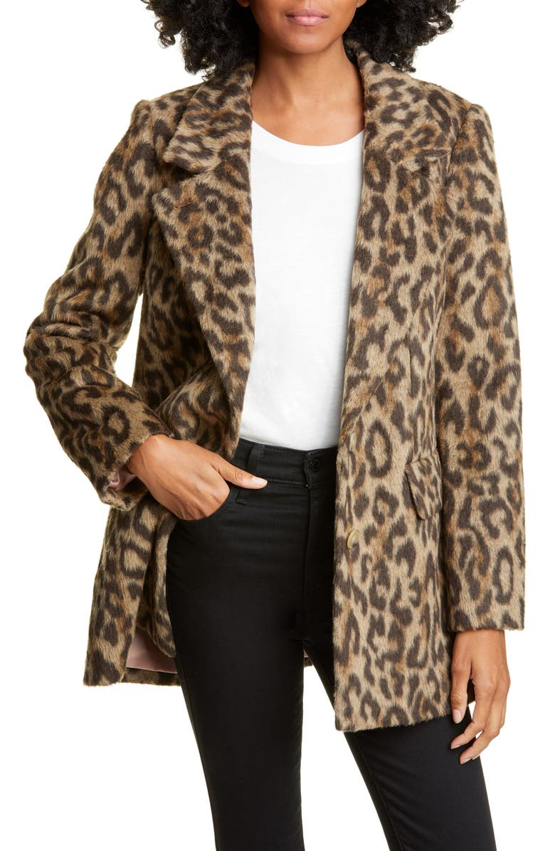 REBECCA TAYLOR Leopard Print Coat, Main, color, 200