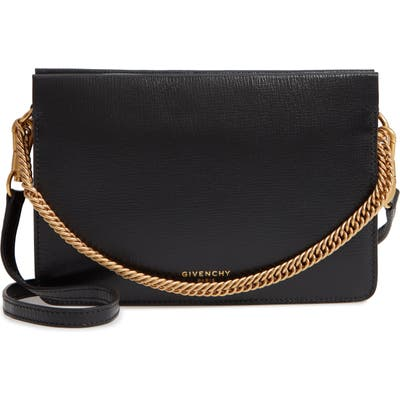 Givenchy Cross 3 Leather & Suede Crossbody Bag - Black