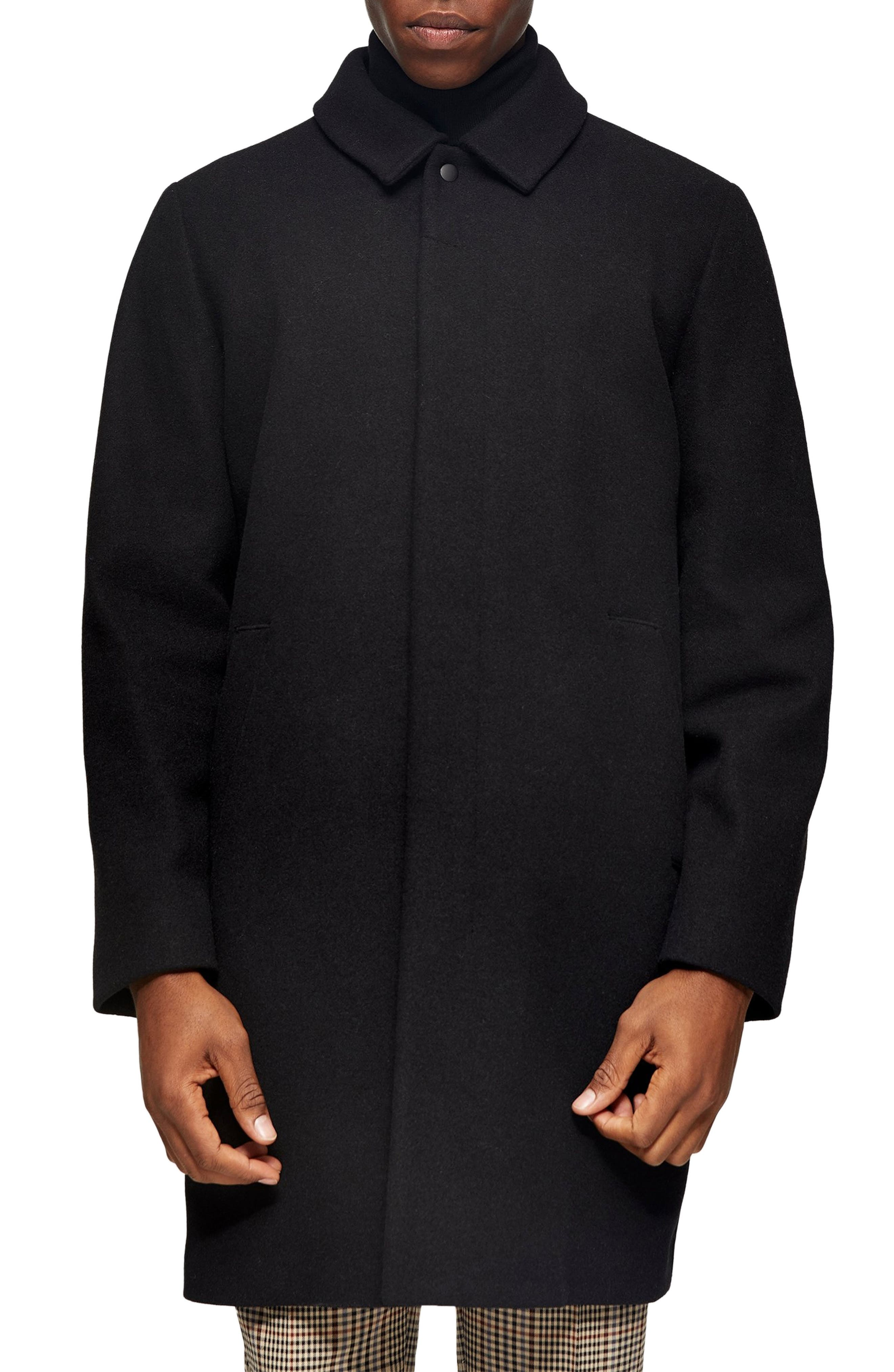 50s Men's Jackets | Greaser Jackets, Leather, Bomber, Gabardine Mens Topman Ryan Classic Fit Overcoat Size X-Large - Black $170.00 AT vintagedancer.com