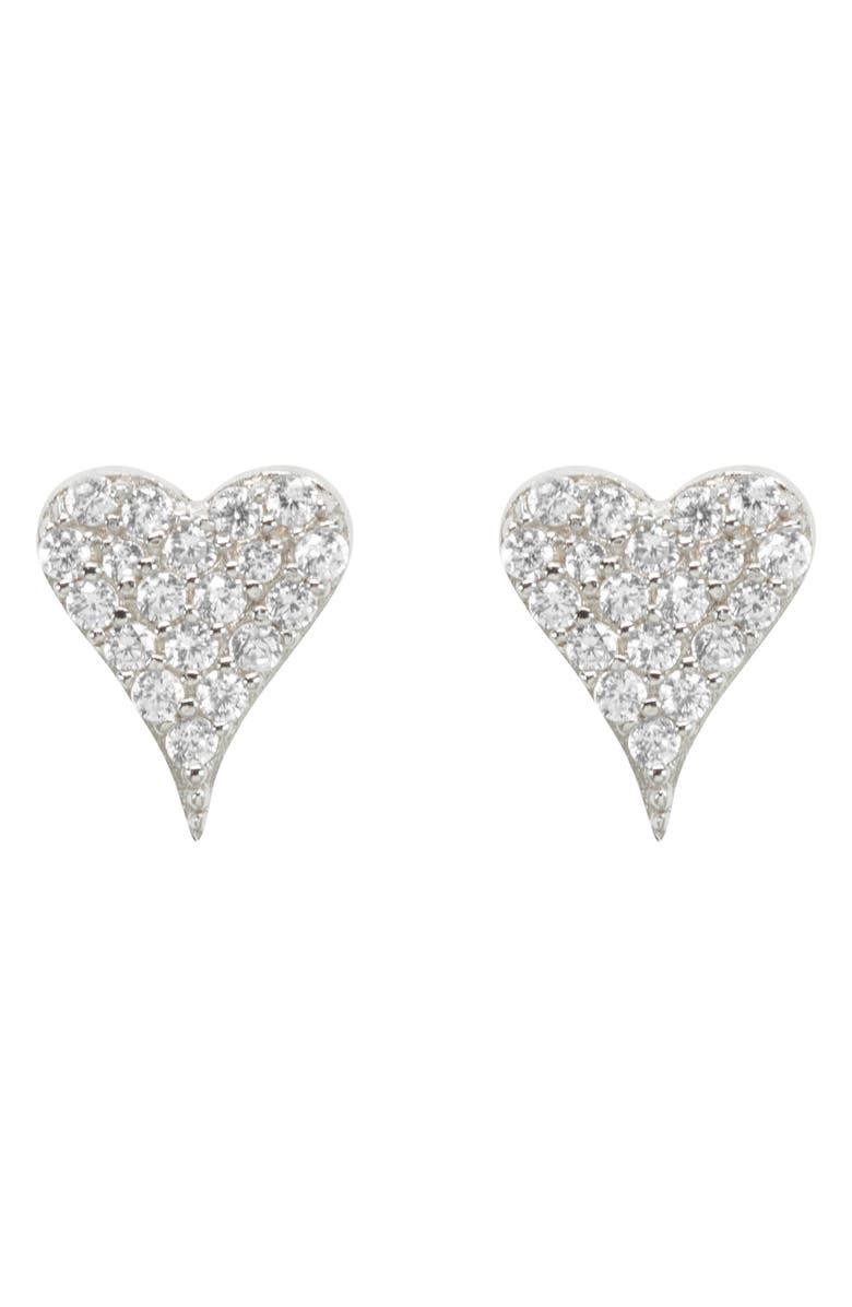 RAGEN JEWELS Mini Happy Heart Stud Earrings, Main, color, SILVER