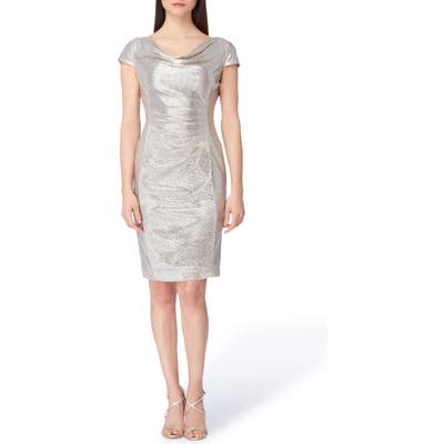 Tahari Metallic Foil Cocktail Dress, Metallic