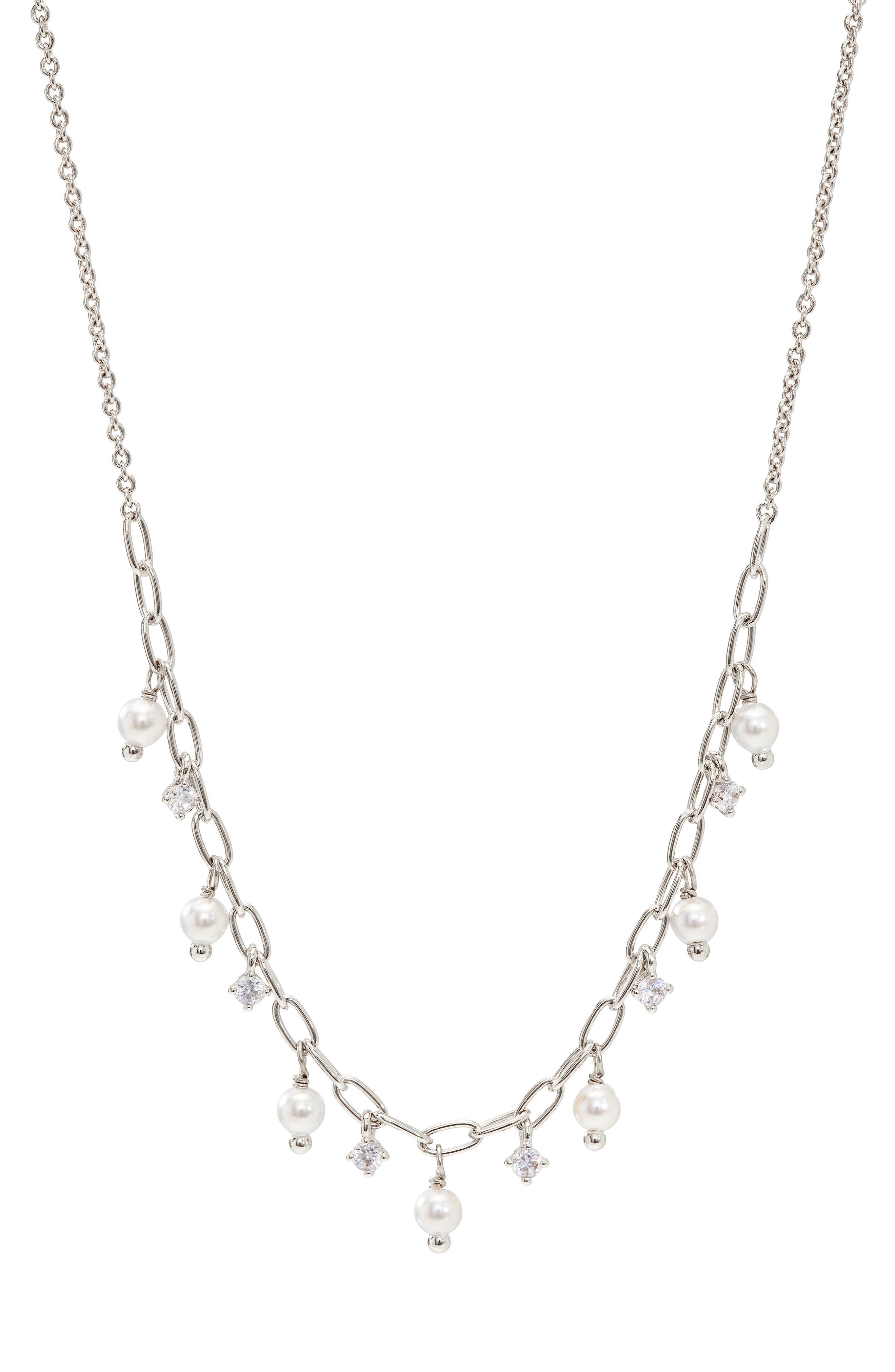 Cubic Zirconia & Swarovski Pearl Necklace