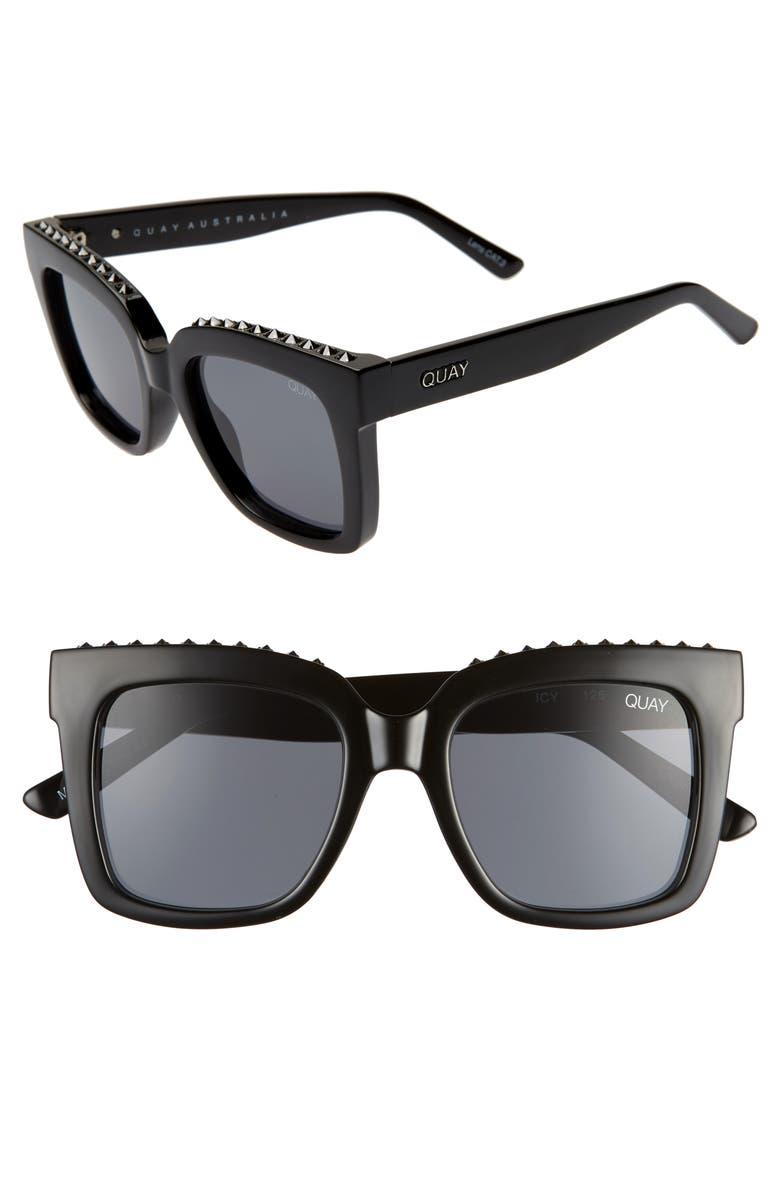 QUAY AUSTRALIA Icy 58mm Square Sunglasses, Main, color, BLACK STUD/ SMOKE