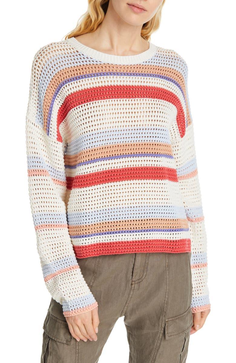 JOIE Diza Stripe Cotton Sweater, Main, color, MULTI
