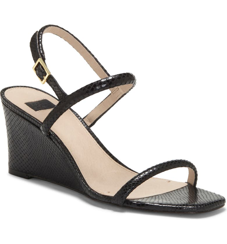 LOUISE ET CIE Quinley Wedge Sandal, Main, color, BLACK SNAKE PRINT LEATHER