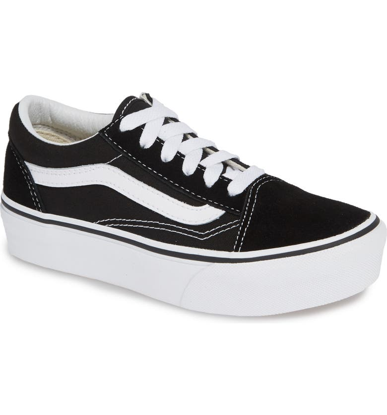 VANS Old Skool Platform Sneaker, Main, color, BLACK/ TRUE WHITE