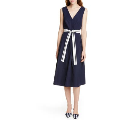 Judith & Charles Positano V-Neck Cotton Midi Dress, Blue