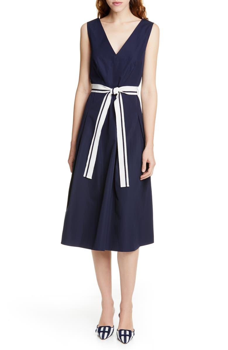 JUDITH & CHARLES Positano V-Neck Cotton Midi Dress, Main, color, NAVY