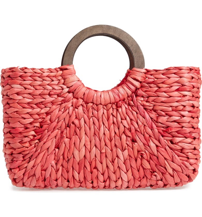 KNOTTY Straw Top Handle Tote, Main, color, RED