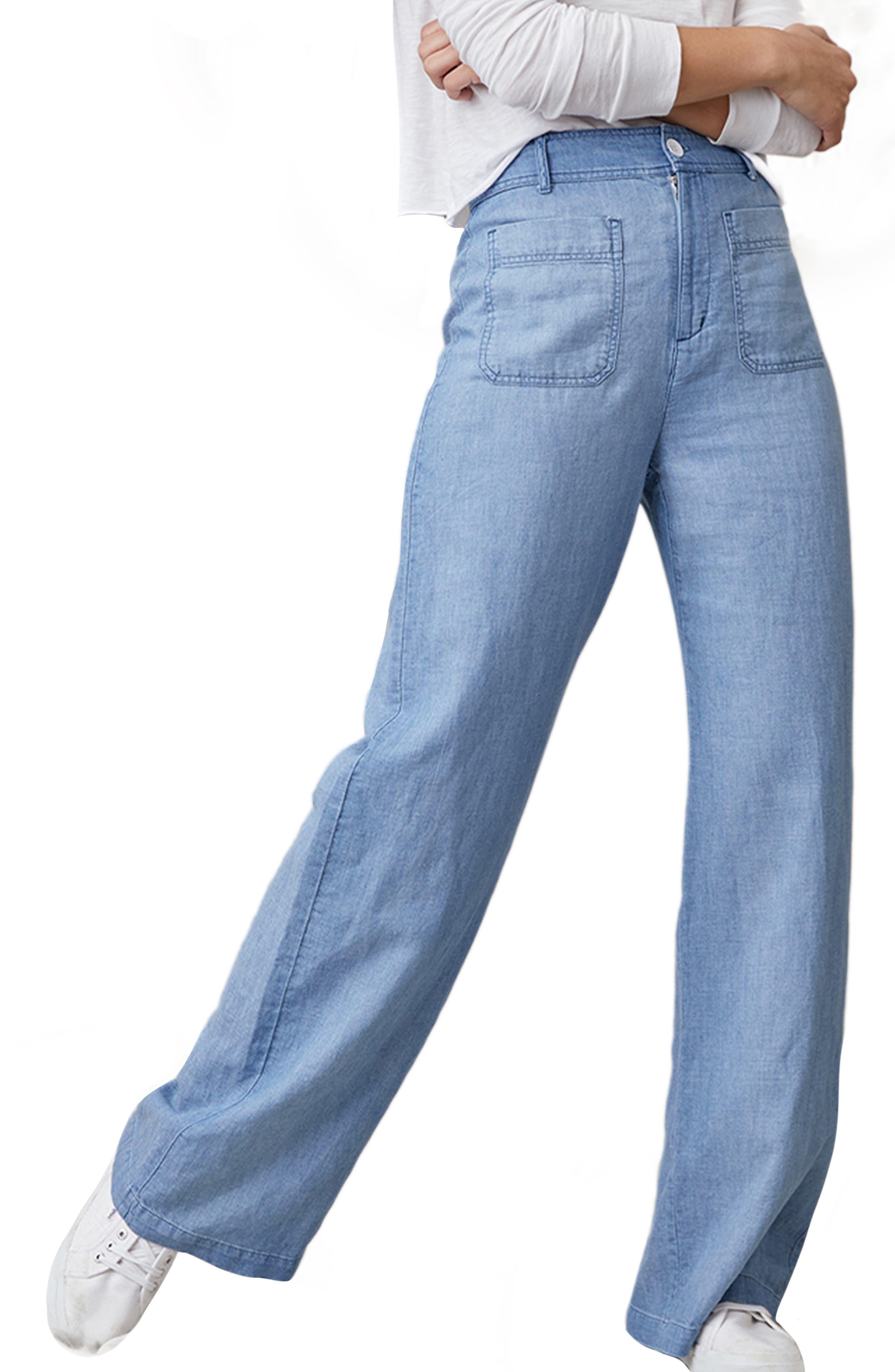 Patch Pocket High Waist Wide Leg Pants