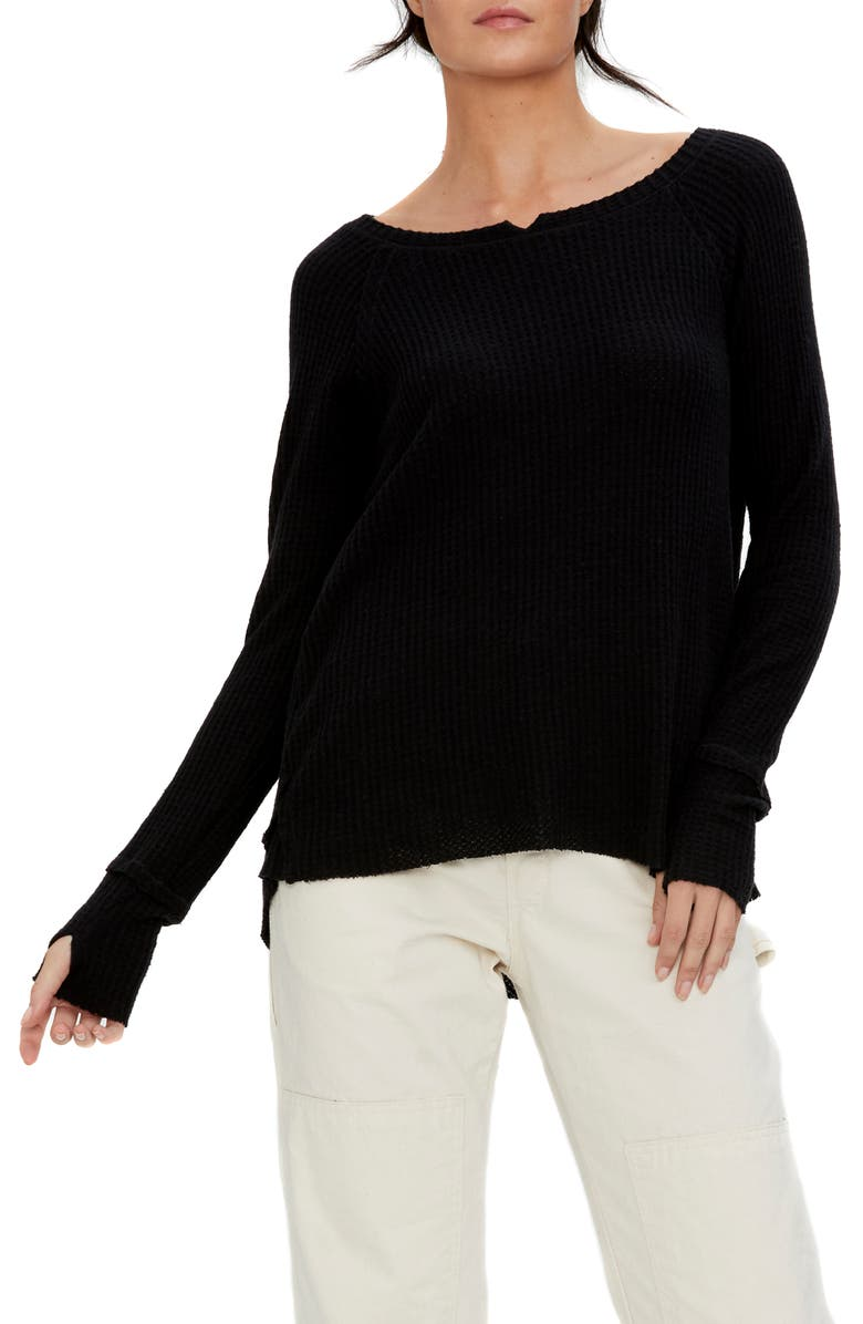 MICHAEL STARS Kim Notch Thumbhole Sweater, Main, color, BLK
