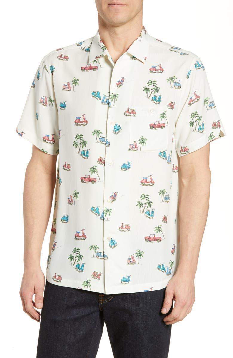 TORI RICHARD A To B(each) Short Sleeve Silk Blend Button-Up Shirt, Main, color, 102