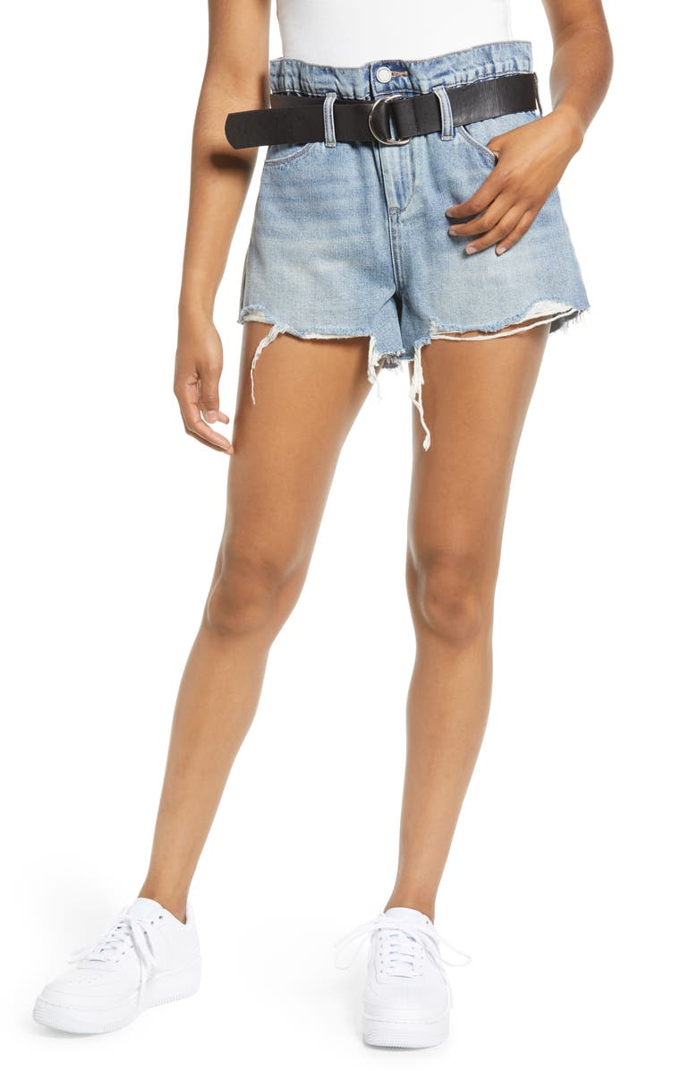 BLANKNYC Belted High Waist Denim Shorts, Main, color, RISK TAKER