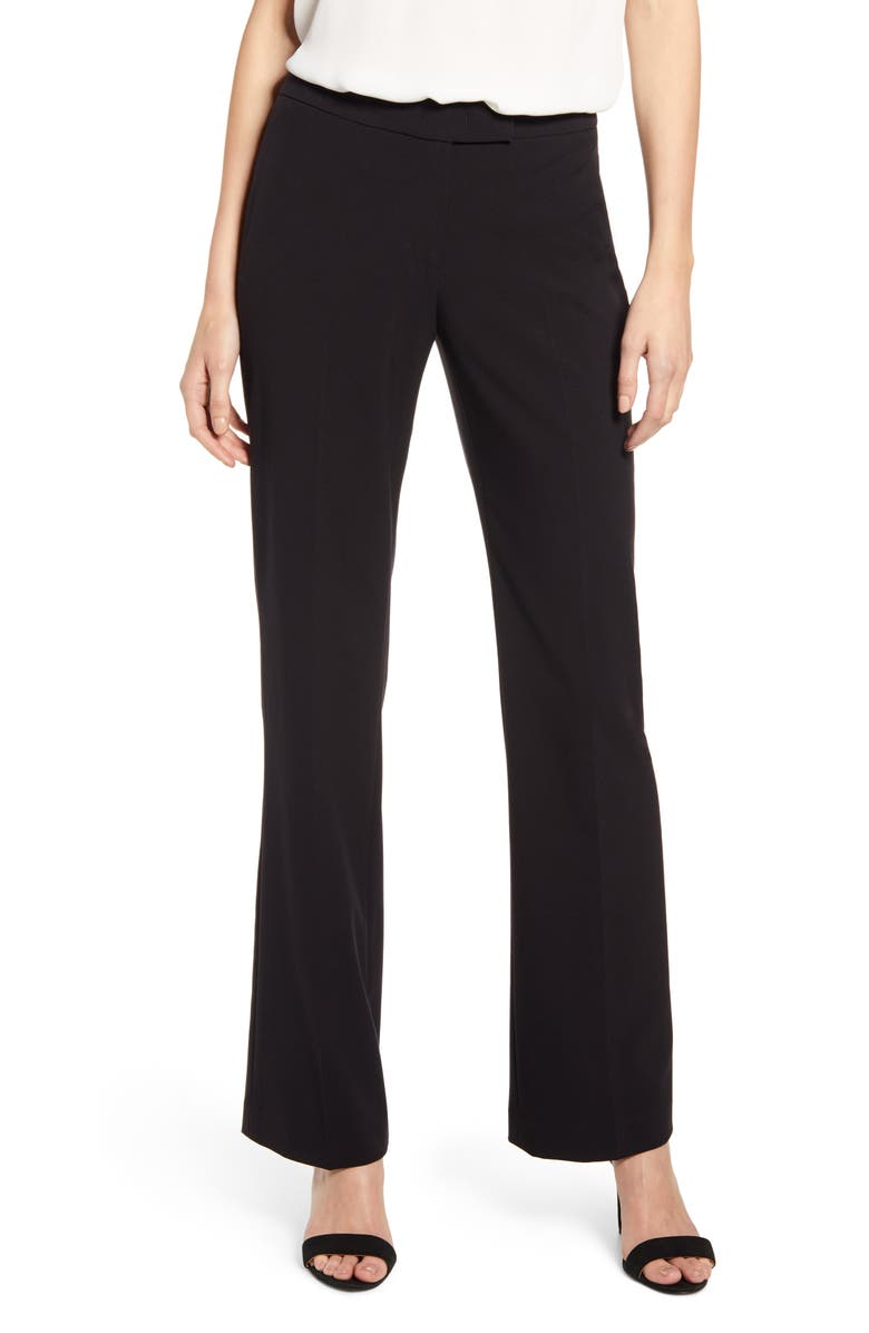 ANNE KLEIN Stretch Flare Leg Pants, Main, color, ANNE BLACK