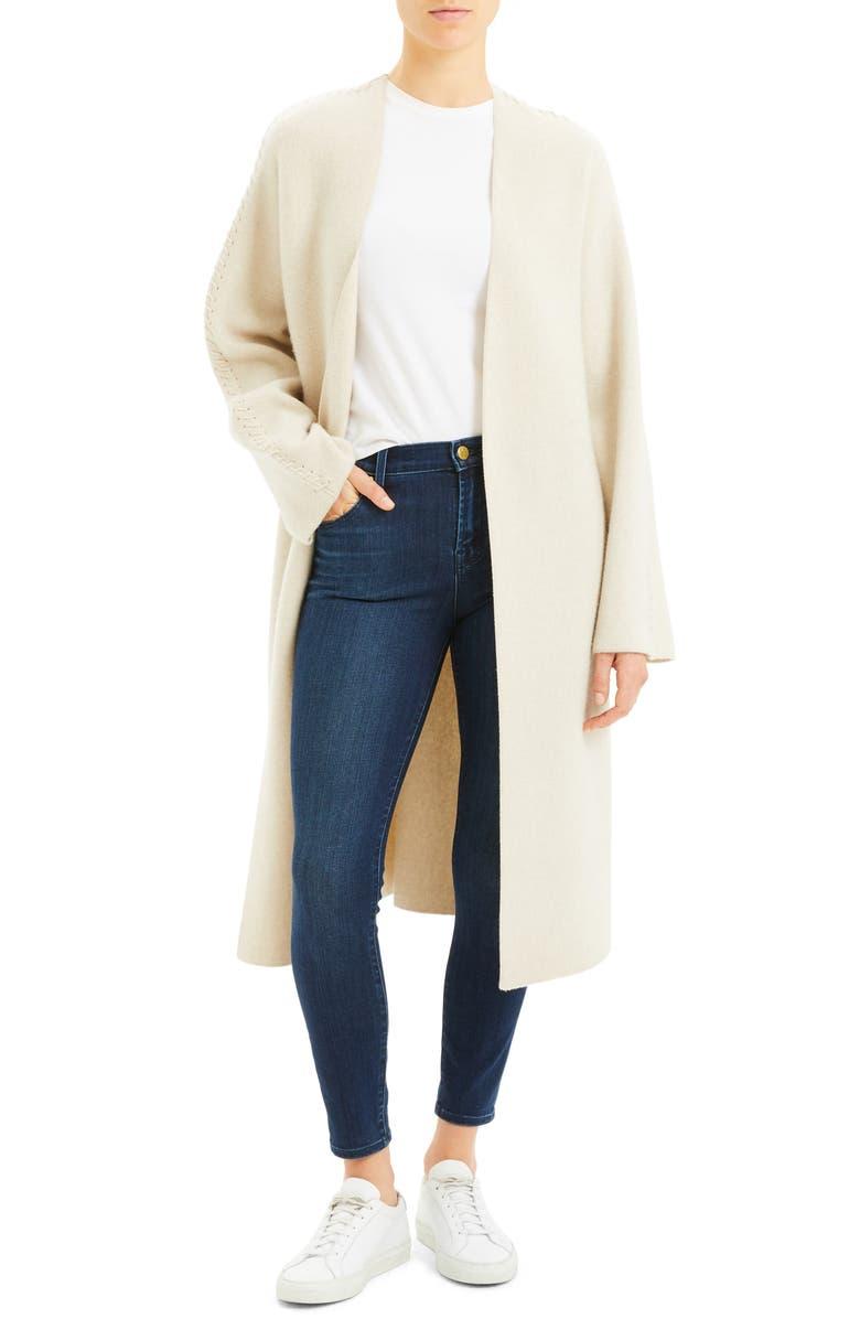 THEORY Wool & Cashmere Sweater Coat, Main, color, ECRU HEATHER