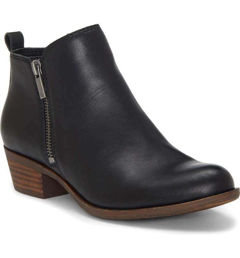 LUCKY BRAND Basel Bootie, Main, color, BLACK LEATHER