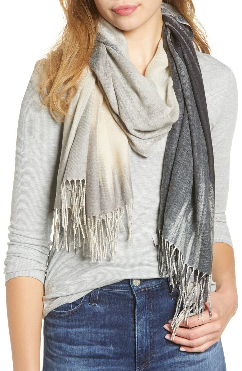 NORDSTROM Tissue Print Wool & Cashmere Wrap Scarf, Main, color, GREY LE PEINTURE PRINT