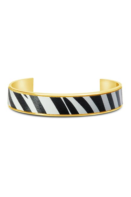 Image of Sterling Forever 14K Gold Plated Brass Zebra Open Cuff Bracelet