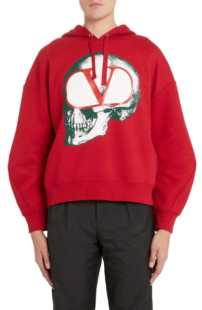 VALENTINO Go Skull Pullover Hoodie, Main, color, RED