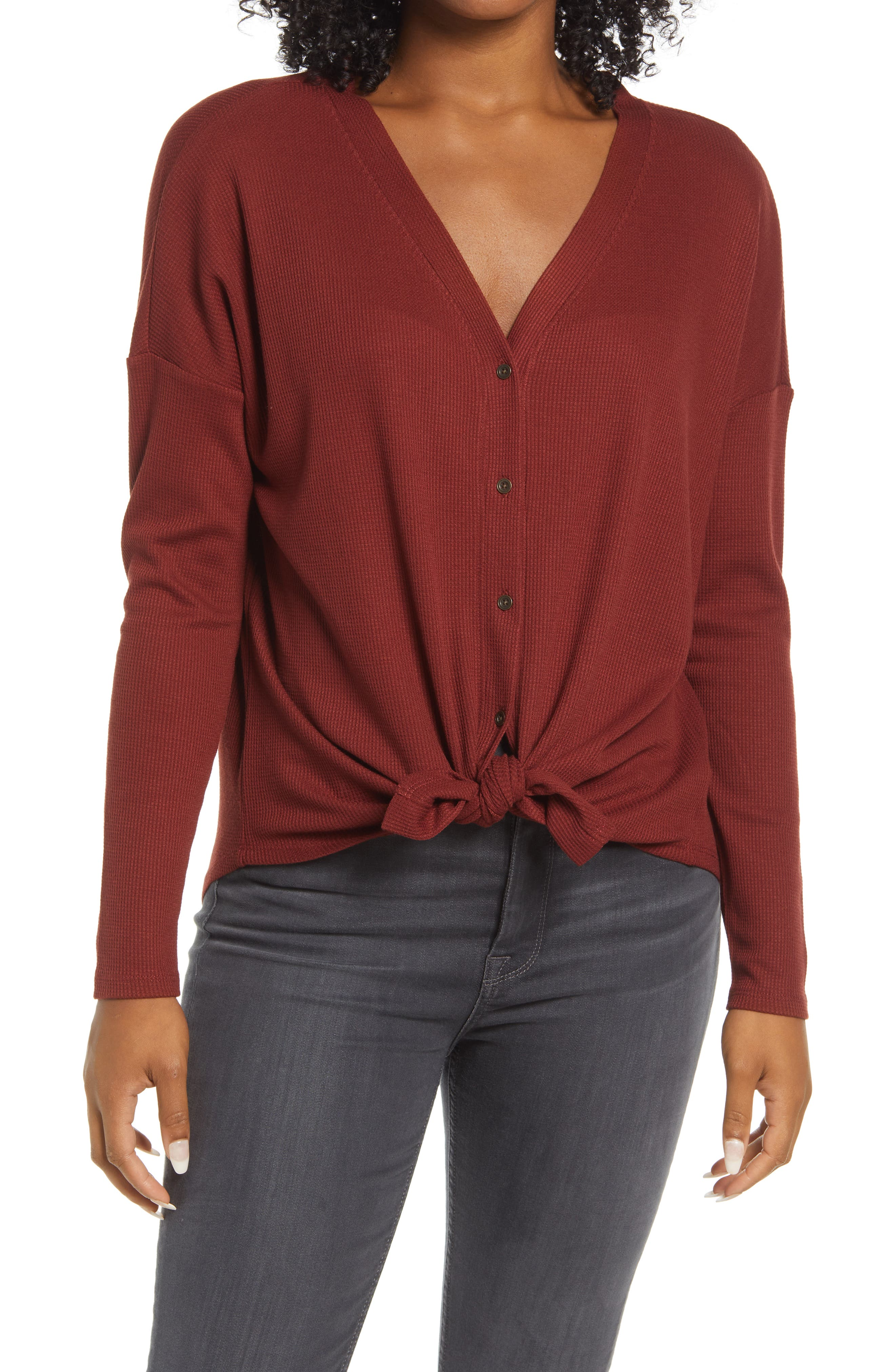 Thermal Knit Button-Up Top