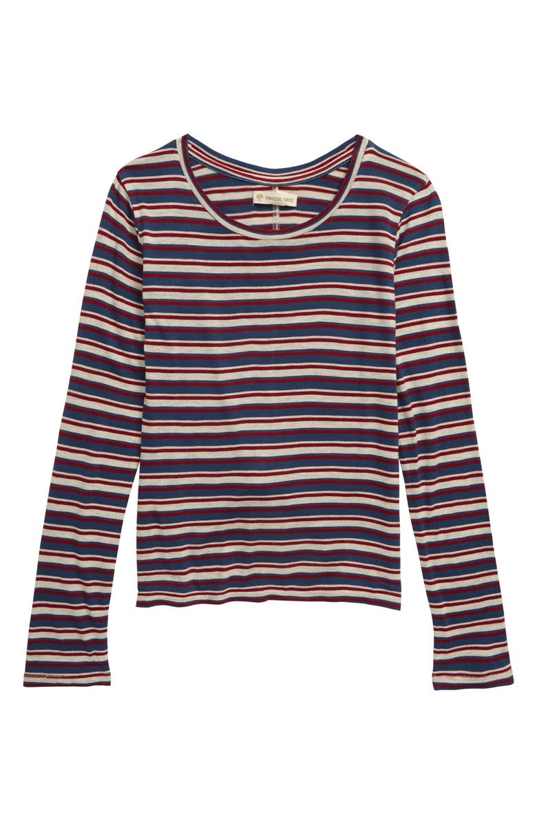 TUCKER + TATE Twist Back Long Sleeve Top, Main, color, BEIGE OATMEAL HEATHER- NAVY