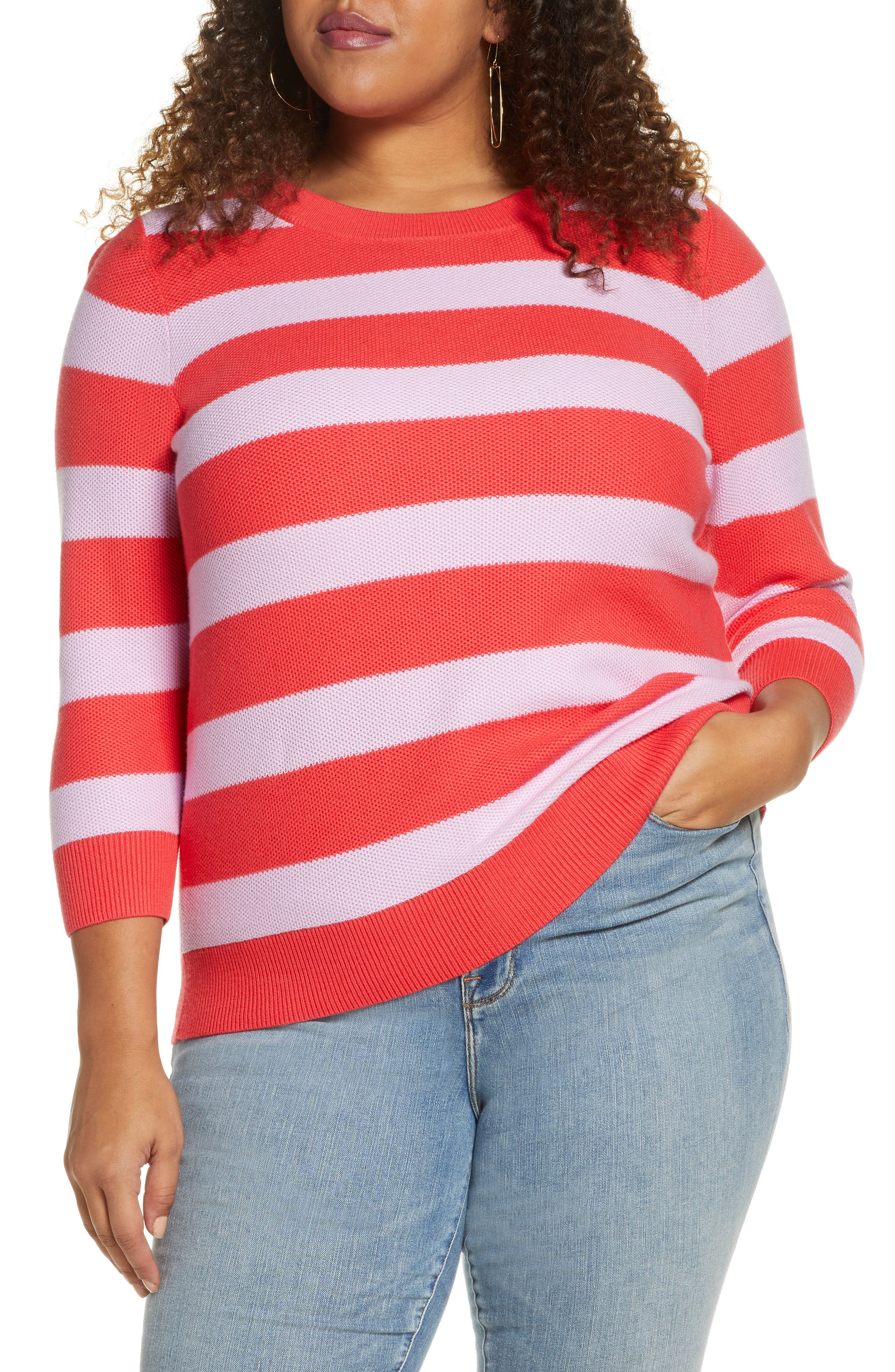 From the latest collaboration with super-influencer Blair Eadie, this textured cotton-blend sweater comes in a pretty solid shade or bold color-pop stripes. Style Name: Halogen X Atlantic-Pacific Three Quarter Sleeve Sweater (Plus Size). Style Number: 5966129. Available in stores.