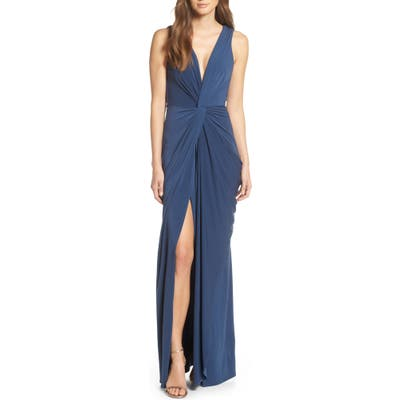 Katie May Leo Twist Front Evening Dress, Blue