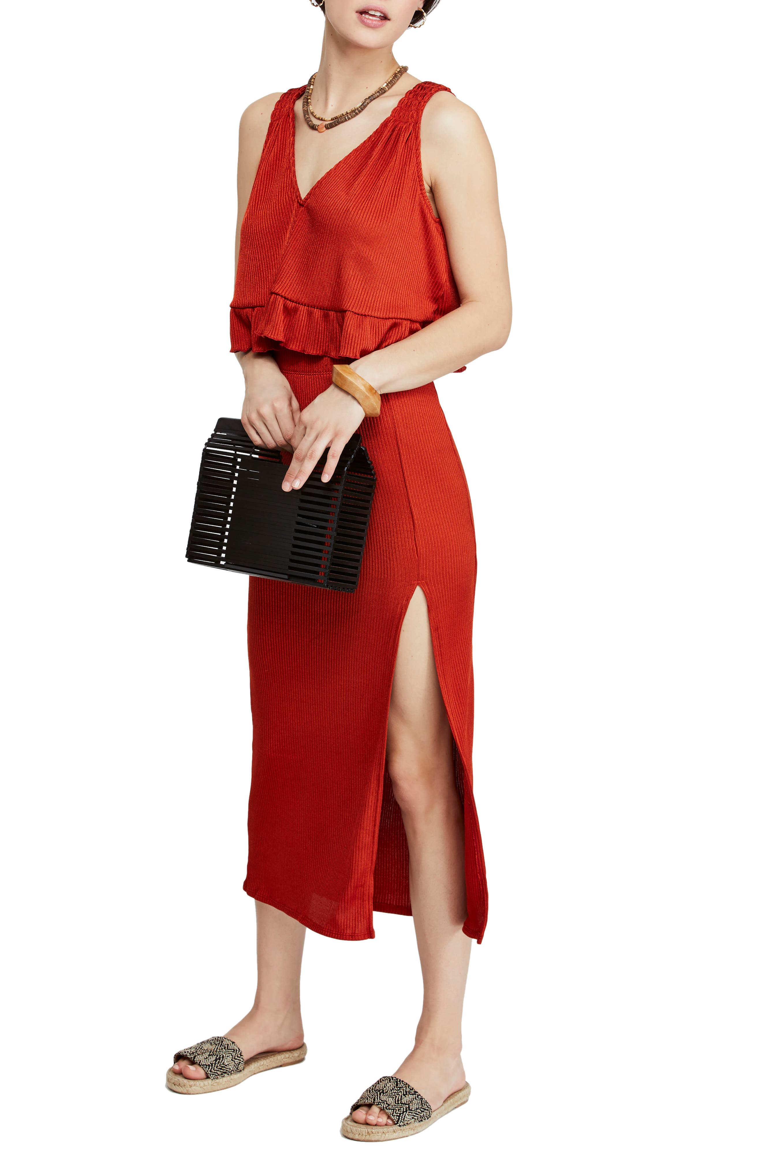 Free People No Excuses Two-Piece Ribbed Dress, Red